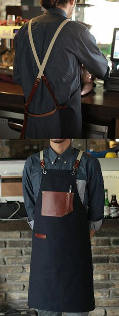 Items similar to Wholesale Premium Gift for woman and man Chef Works Handmade Apron Japanese Cross Back - Roco real cow leather Apron Navy on Etsy Leather Apron, Cow Leather, Leather Gifts, Leather Craft, Waiter Uniform, Restaurant Uniforms, Shop Apron, Work Aprons, Aprons For Men
