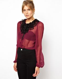 ASOS Blouse with Contrast Lace Ruffle Collar