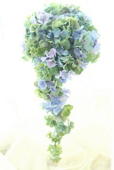 ブーケ キャスケード 秋色アジサイ : 一会 ウエディングの花