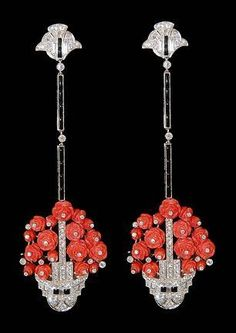 Platinum diamond,onyx and coral flower basket earrings. ART DECO ERA