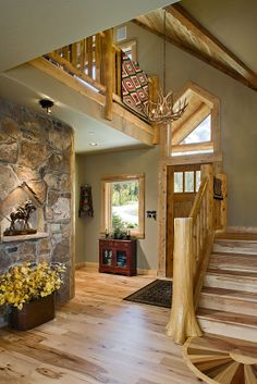 Foyer of Lakota Lodge - Hybrid - love the log and drywall mix