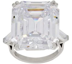 Movie star magic. Inspired by the famous Elizabeth Taylor diamond ring that rarely left her finger, a double prong-set, Asscher-cut clear simulated diamond shines at the center, flanked by clear tapered baguette simulated diamonds on the shoulder. QVC.com