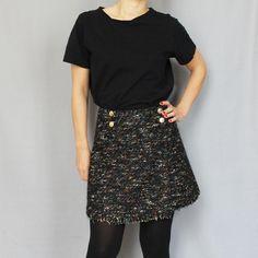 Mini jupe portefeuille en laine Monopole, Sequin Skirt, Sequins, Skirts, Fashion, Micro Skirt, Wallet, Wool, Moda