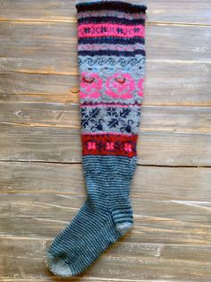 Long socks made with patterns from the book Meite Muhu Mustrid. Crochet Socks, Knitting Socks, Hand Knitting, Knit Crochet, Knitting Patterns, Crochet Patterns, Knit Socks, My Socks, Cool Socks