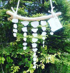 Small white sea glass taper// Sea glass mobile// Wall hanging// Sun catcher// Zen decor// Boho chic by RedIslandSeaGlass on Etsy #seaglass #seaglassmobile #mobile #princeedwardisland #pei