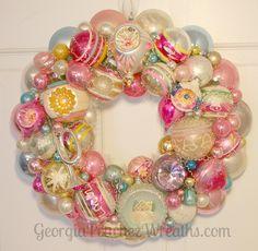 "Image of Pink loves Aqua Vintage Shiny & Brite Ornament Wreath - 15"" diameter"