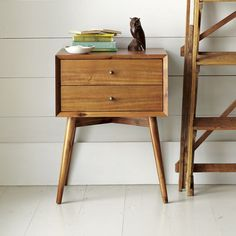 Inspired by mid-century design, the Mid-Century Nightstand borrows its slim legs, angled face and understated retro details from iconic and furniture silhouettes. 60s Furniture, Mid Century Furniture, Furniture Websites, Furniture Stores, Rustic Furniture, Contemporary Furniture, Antique Furniture, Office Furniture, Furniture Ideas