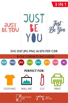 Just Be You SVG Cut Files Wall Art Quote Printable Art Decor Bedroom Living room Art Printable Poster (Svg Dxf Cdr Eps Ai Jpg Pdf Png)