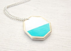Gold Lined Hexagon Necklace
