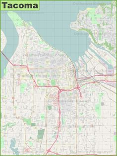 Large detailed map of Tacoma