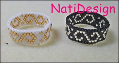 Beautiful and elegant rings with filigree motif, do not miss the tutorial . Tutorial Anillo, Earring Tutorial, Beading Tutorials, Beading Patterns, Beaded Rings, Beaded Jewelry, Bead Loom Bracelets, Bead Weaving, Handmade Jewelry