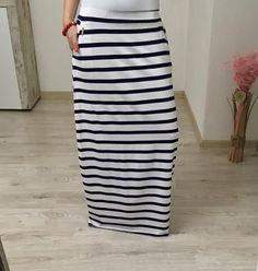 Maxi sukňa pásikavá biela