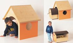 Children's fur­ni­ture from Bis­cuit, inspired by the idea of chil­dren play­ing with a card­board box longer than the toy it once contained.