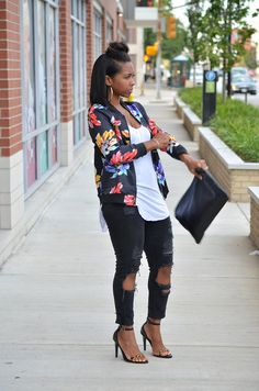 Fall Outfit Idea, Black Jeans, Bomber Jacket, Fall 2015, Sweenee Style