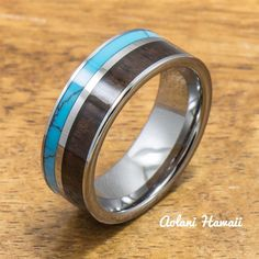 Turquoise Tungsten Ring with Dark Koa Wood Inlay (6mm - 8mm Width, Flat style)