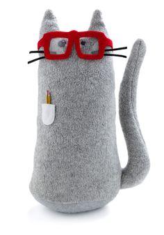 chat à lunettes rouges