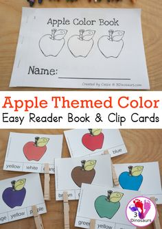 Free Apple Color Easy Reader Book & Clip Cards - 11 colors words in an apple themed book with matching apple themed color clip cards - 3Dinosaurs.com #3dinosaurs #appleprintables #colorsforkids #easyreader book #freeprintable #kindergarten #prek Apple Activities, Autumn Activities For Kids, Speech Activities, Color Activities, Apple Coloring, Coloring Books, Apple Crafts, Easy Reader, Apple Theme