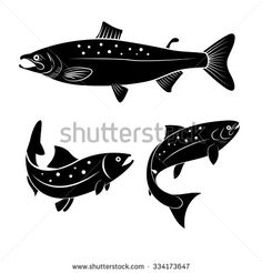 Set of salmon fish isolated on white background. Logo or label design element. Modern Graphic Design, Graphic Design Typography, Salmon Tattoo, Fish Logo, Harvest Decorations, Sketch Inspiration, Window Art, Precious Metal Clay, Animals Images