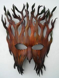 Woodland entity mask:Leather mask original handcrafted Halloween Mardi gras…