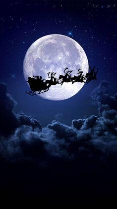 christmas, night, and moon image Xmas Wallpaper, Christmas Phone Wallpaper, Winter Wallpaper, Wallpaper Backgrounds, Iphone Wallpaper, Christmas Images Wallpaper, Santa Claus Wallpaper, Christmas Night, Christmas Art