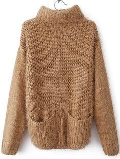 Kahaki Long Sleeve High Neck #Pocket #Sweater