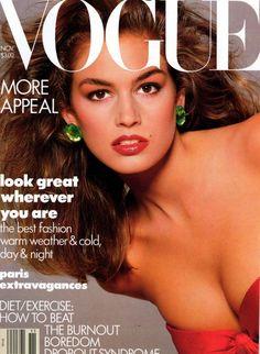 Cindy Crawford covering American Vogue, November 1987