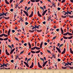 Designed by Rifle Paper Co. for Cotton + Steel, this whimsical cotton print fabric is perfect for quilting, apparel and home decor accents. Colors include pink, peach, coral, navy, brown and white.