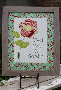"""""""Meet Me In The Garden"""" a cotton applique pattern with a curly button caterpillar!"""