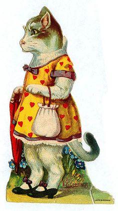Vintage Valentine Miss Kitty
