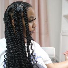 Big Box Braids Hairstyles, Hair Ponytail Styles, Braids Hairstyles Pictures, Black Girl Braided Hairstyles, Twist Braid Hairstyles, African Braids Hairstyles, Baddie Hairstyles, Hair Pictures, Curly Hair Styles