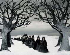 """  I did not notice them at first. Dressed in black, a procession moving silently amongst the bare trees. All in black, like mourners, an anonymous cortege, a black river of despondence against the white snow. The long skirts, capes and big hats spoke of different times. It took some time before I realised that the procession did not consist of humans, but of – apes."""