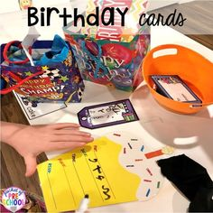 Birthday card making for a Birthday Party dramatic play. Perfect for a preschool & pre-k classroom. Preschool Writing, Preschool Classroom, Preschool Activities, Preschool Learning, Preschool Birthday, Birthday Activities, Birthday Book, Birthday Fun, Dramatic Play Centers