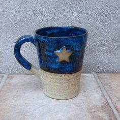 Hand thrown stoneware pottery mug....with a star