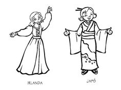 Vestuario de Irlanda y Japón para colorear