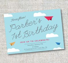 Paper Airplane Invitation: Birthday, Airplane theme, Digital File or Printed Cards, Plane Birthday, Printable, Customizable by CJANEdesignshop on Etsy https://www.etsy.com/listing/262302228/paper-airplane-invitation-birthday