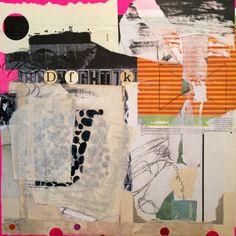 """Let's go to Coney Island"" Collage on panel, 2015 angelahollandart.com"