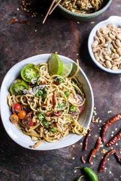 Firey Schezwan Peanut and Chili Zucchini Noodles - fast easy, peanutty deliciousness with leftovers, what more could you as for, from halfbakedharvest.com