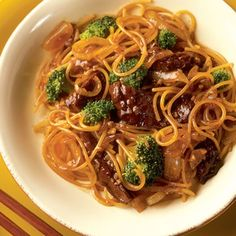Beef and Broccoli Lo Mein ~ Satisfy your craving for lo mein with this supereasy recipe, which takes less time to prepare than you'd spend waiting for takeout.