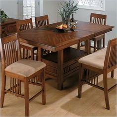 Chairs & Bench Sold Separately    Jofran Counter Height Table with Butterfly Leaf in Saddle Brown Oak Finish
