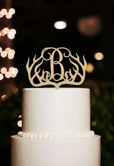 Rustic Wood Deer Head Antler Design with Initial Letters Wedding Cake Topper #lovehomedeco