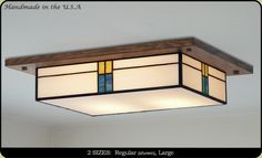 """""""Mission Light Fixture Custom Handmade in the U.A by American Artisans. Decorate your Dining Room, Kitchen and Hallway with our Flush Style Mission Light Fixture. Flush Lighting, Kitchen Lighting, Cottage Lighting, Ceiling Light Fixtures, Ceiling Lights, Quarter Sawn White Oak, Oak Stain, Small Dining, Craftsman Style"""