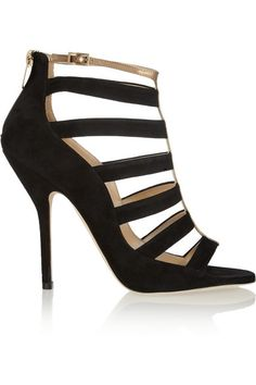 Jimmy Choo Fathom Suede and Metallic Leather Sandals #shoes #gorgeous #obsessed