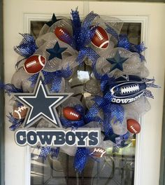 Dallas Cowboys wreath by TheTwistedWillowShop on Etsy Dallas Cowboys Wreath, Football Wreath, Football Decor, Deco Mesh Wreaths, Burlap Wreaths, Sports Wreaths, Homemade Wreaths, Farmhouse Paint Colors, Craft Night
