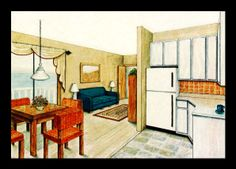 Hand Drawn Perspective Rendering   Rendered Perspective Drawing - Hand drawn and rendered with ink and ...