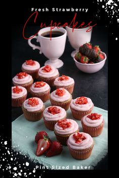 Pick the best strawberries in the spring and make the sweetest strawberry cupcakes all year round! You can use frozen strawberries to make them just as delicious as the first day of spring!  #cupcakes #strawberrycupcakerecipe #freshstrawberries #easydessert Strawberry Cupcake Recipes, Strawberry Icebox Cake, Fun Easy Recipes, Best Dessert Recipes, Holiday Recipes, Frozen Desserts, Easy Desserts, Delicious Desserts, Kitchen Recipes