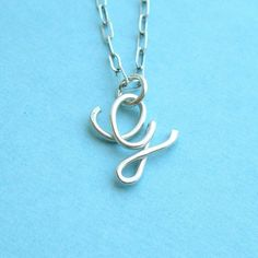 """Fancy letter """"G"""" sterling wire necklace"""