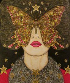 """Photo. My coloring book. Девушка из раскраски Ханны Карлсон """"Сон в летнюю ночь"""" в образе Анны Карениной #sommarnatt #hannakarlzon #аннакаренина"""