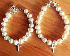 Freshwater pearl baptism bracelets with sterling silver crosses