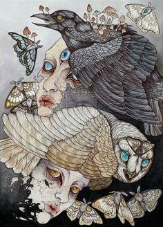 Caitlin Hackett. micron pen, colored pencil, watercolor and acrylic