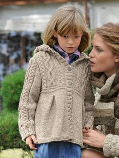 Bergere de France knitting patterns, Bergere de France Irish Knit Mag Hooded Jacket, from Laughing Hens; Knitting For Kids, Crochet For Kids, Knitting Projects, Baby Knitting, Knitting Patterns, Knit Crochet, Fabric Yarn, Shrug Sweater, Baby Sewing